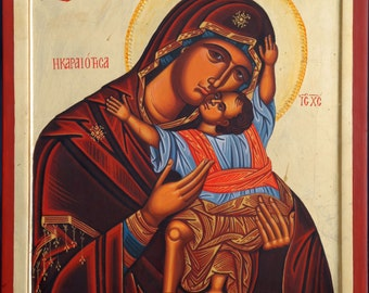 The Virgin and child, Jesus Christ, hand painted, Greek icon, Russian icon, Byzantine icon, religious gift, orthodox icon, Christmas gift