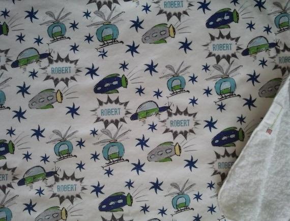 Flying Around Stars- Ocean Yellow  - Organic Cotton Personalized Baby Boy blanket /Toddler blanket / stroller blanket / car seat  Blankets