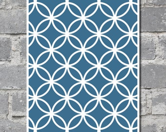 Overlapping Circles Art in Blue (8x10) DIGITAL FILE