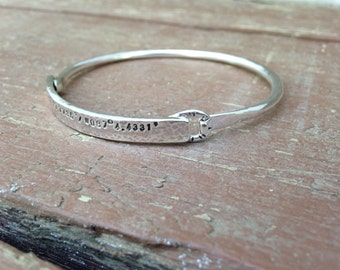 Personalized Mom Bracelet Solid Sterling Silver Bangle with hidden message solid sterling silver