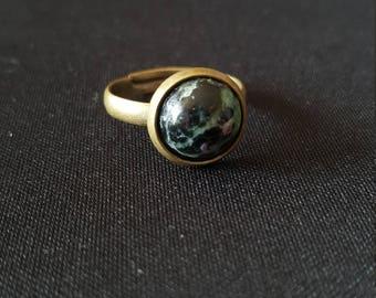 Gemstone Cab - Ruby Zoisite cabochon - chakra - heart - Bohemian ring