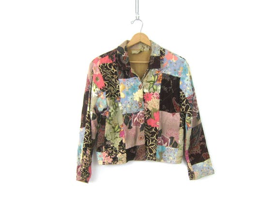 Boho Jacket Floral Patchwork Print jacket Preppy Light Blazer Coat Button Up Jacket Pink Brown Pattern Hipster Coat Women's size Small