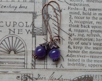 Amethyst and copper earrings