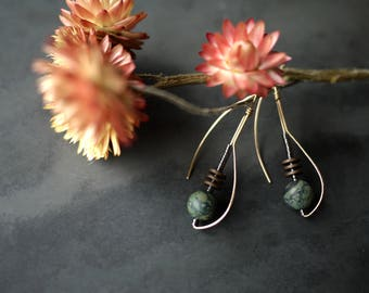 Gold Fill Drop Earrings with Matte Jasper and Hematite