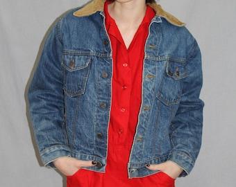 Vintage 70s Sears Roebucks Denim JEAN Jacket Red Liner Cord Collar FADED S M