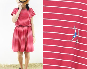 Striped red and white cotton dress with divers patch  [Germina dress/divers in red]