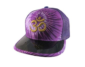 OM Spiritual Symbol Yoga Lifestyle 3D Puff Golden Embroidery on Adjustable High Profile Structured Purple Tie Dye Trucker Mesh Fashion Cap