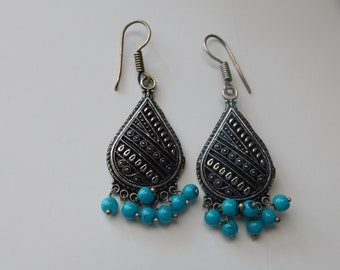 Indian earrings with blue beads