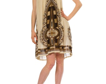 1970s Vintage Mamta Off White Ethnic Print Halter Dress  Size: L/XL