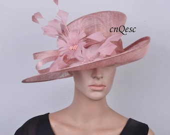 Blush pink sinamay hat fascinator with feather flower,for Kentucky derby,wedding party races church