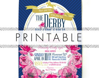 Derby Bridal Shower Invitation Printable in Navy