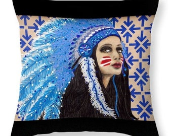 Native Goddess Chief Throw Pillow *Choose your size and color*