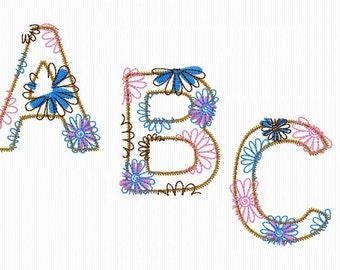 Floral alphabet embroidery applique 4 x 4 size