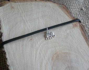 "Beautiful black choker necklace with Tibetan silver elephant charm pendant - 12-15"" - 3 style options!!"