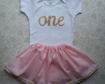 Baby girl  First Birthday Outfit,Easter Dress,Onesie and skirt,One,Girl birthday outfit,1st birthday,Pink polka dot,Gold,Lace,Tea party,