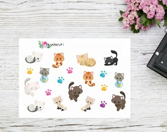 Plannerstickers cute cats in different colors, kitten stickers