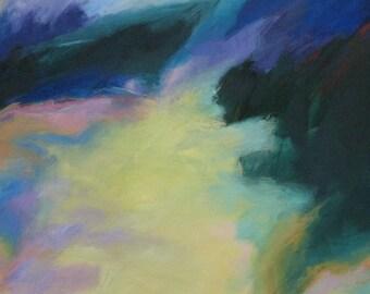 Lake Rabun GICLEE ART PRINT 8 x 11 pastel yellow green abstract landscape