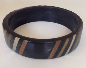Inlaid wooden bangle bracelet