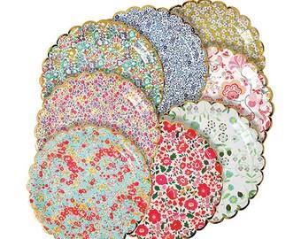 Liberty Large Plates (8), Meri Meri Party Plates, Floral Paper Plates, Bridal Shower Paper Plates, Floral Wedding Decor, Baby Shower