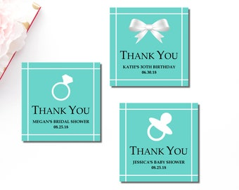 Tiffany blue gift etsy tiffany favor tags personalized favor tags printable teal blue white thank you tags negle Images