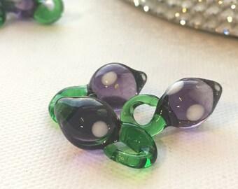 Lampwork Purple Eggplant Fruit Vegetable Beads (set of 3)