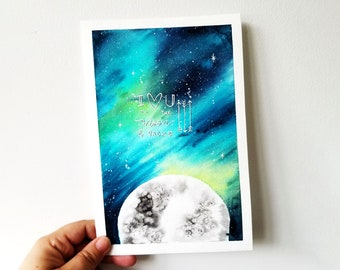 Creative lettering and watercolor. Love you to the moon and back. Original creation. 6 x 9