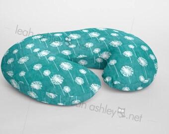 Boppy® Cover, Nursing Pillow Cover - Teal Dandelion MINKY - BC1