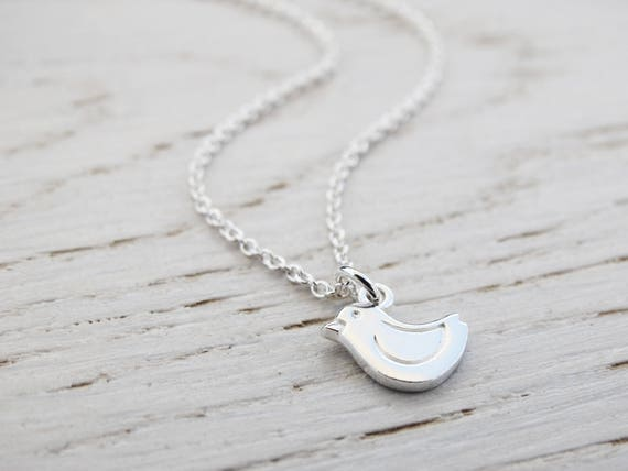 Tiny Bird Necklace, Childrens Jewellery, Sterling Silver