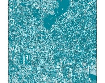 Santiago Cityscape Art Print / Chile City Map Wall Art / 8x10 / Choose your Color