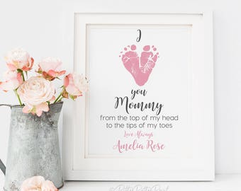 First Mother's Day Gift for New Mom, Gift from Baby, Daughter, Son, Personalized Footprint Art Using Your Child's Feet, 8x10 inches UNFRAMED