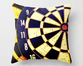 "DARTBOARDS. 16"" X 16"" Pillow Cover. Photo Art, TMCdesigns. Home Decor. Vintage. Game. Darts. Bullseye. Black, Red, Yellow. Sports. Fun!"