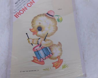 1980 Vintage Iron -On Transfer of a Little Duck Marching and Playing a Drum Box A