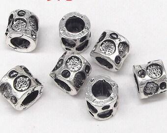 10pcs-8mmX9mm silver tone big hole metal beads