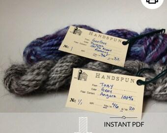 Printable PDF, Handspun Yarn Info Tags, fiber, labels, gift - farm