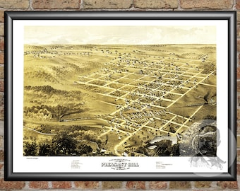 Pleasant Hill, Missouri Art Print From 1869 - Digitally Restored Old Pleasant Hill, MO Map - Perfect For Fans Of Missouri History