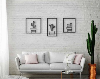 Good Wall Art Set Of 3, Cactus Wall Art, Laser Cut Metal, Black Metal