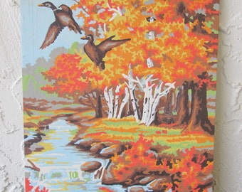 Paint by Number Vintage Painting Fall Woods Ducks Craft House PBN Unframed