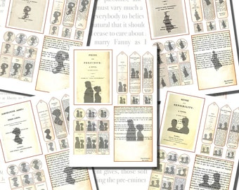 Digital Collage: Jane Austen's First Pages and Title Pages Printables, Postcard Size, Circles & Squares; Scrabble Tiles, Bookmarks, etc