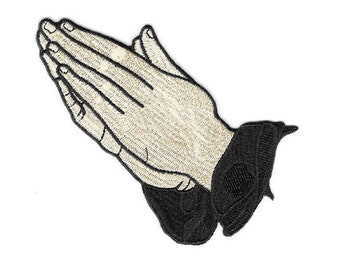 """Praying Hands - Prayer - Liturgical - Faith - Priests - Church - Choir - Bible - Embroidered Iron On Patch - 3 7/8"""""""