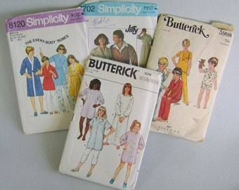 Vintage Sewing Pattern Lot Pajamas Robe Boys Girls Adults