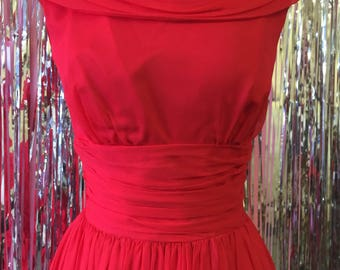 Devilish Red Twirl Gathered Dress