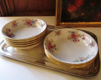 Eight Lenox Aurora Fruit/Dessert Bowls, Sauce Bowls, Vintage Floral China, Romantic Decor, Tea Party China, 1950's Dinnerware