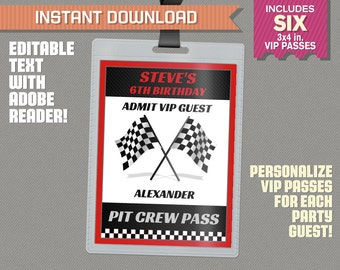 Race Car Party Pit Crew Pass printable Insert - Race Car Birthday, Race Car Party Vip Pass - Edit and print at home with Adobe Reader!