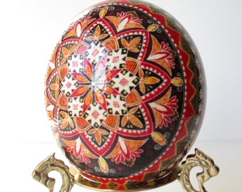Ostrich egg Pysanka  traditional Ukrainian pattern with Red and Orange