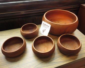 Vintage Goodwood Wood Wooden Teak Salad Bowl Set Thailand by Julie Pomerantz Inc