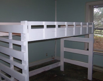 Heavy duty twin l size loft  bed with built in end ladder.