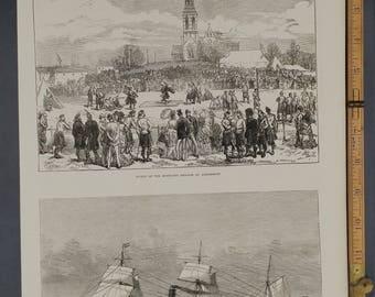 Sports of the Highland Brigade at Aldershott, Cunnard Steamship Bothnia Large Antique Engraving