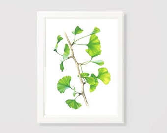 Leaves, Green Ginkgo, Ginkgo Leaves, Home Décor, Wall Printable, Wall Art, Digital Download, Printable Art, Wall Decoration.