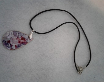Ceramic Hand painted Tear drop on Black Leather Necklace.