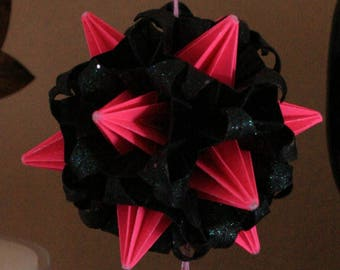 Origami Kusudama Pink Black Witch Spike Ball Hanging Ornament